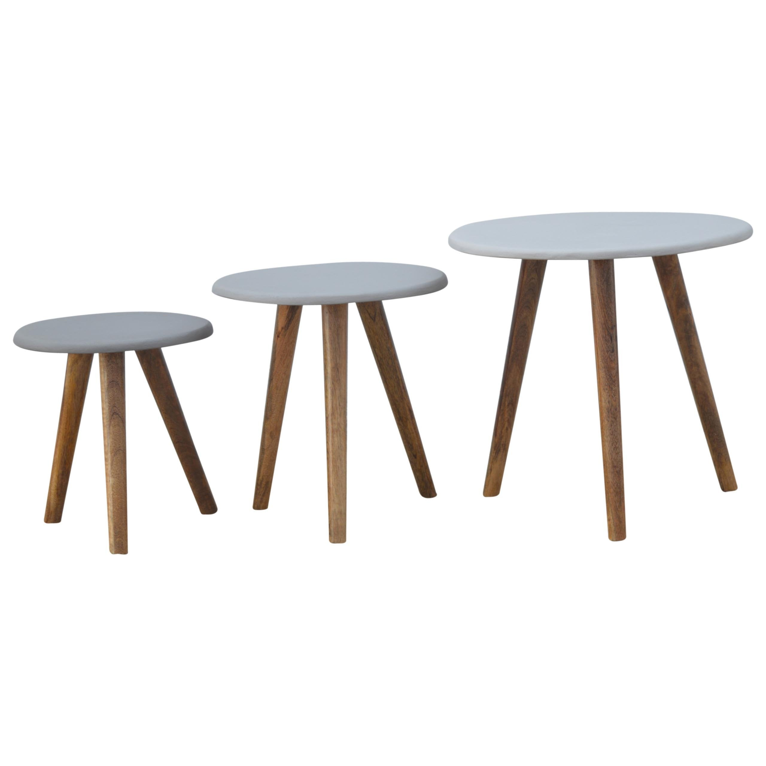 Grey Painted Stool Set of 3