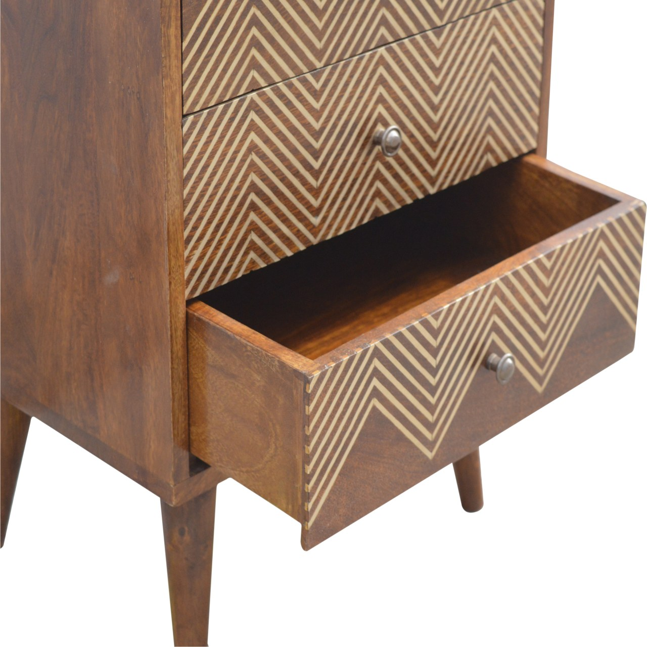 Brass Inlay Chevron Bedside with 3 Drawers
