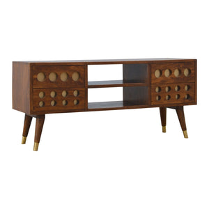 Chestnut Brass Inlay Cut Out Media Unit