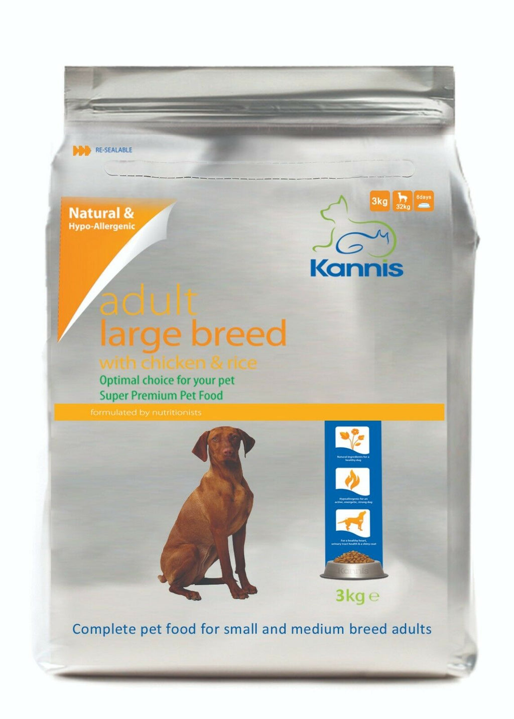 Kannis Adult Large Breed Dry Dog Food - Chicken 3 Kg