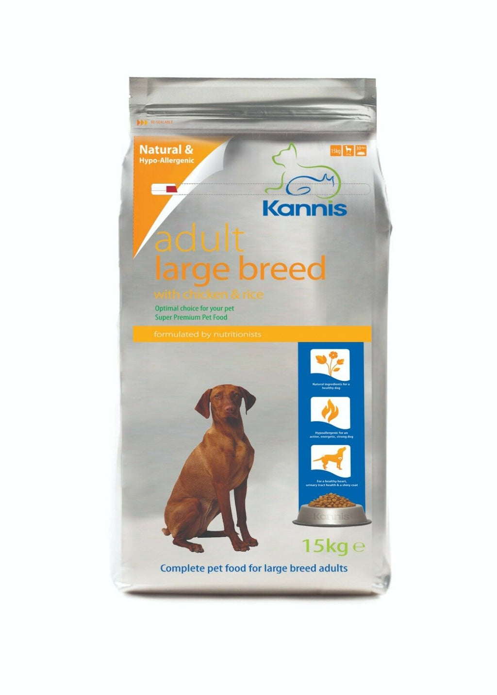Kannis Adult Large Breed Dry Dog Food - Chicken 15 Kg