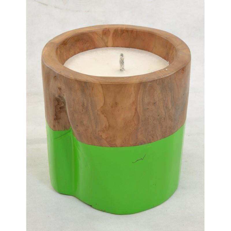 Teak Candle with Apple-Green Band
