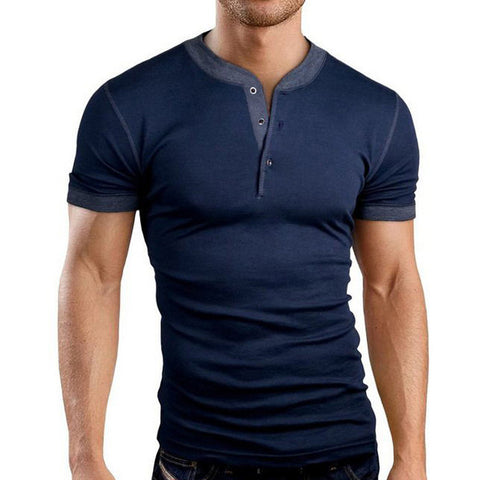 New Henley Style Slim Fit Men's Tee