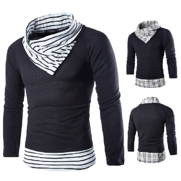 Contrast Lining Turtleneck Pullover