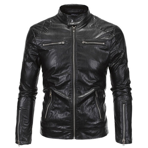 Black Faux Leather Zip Up Jacket