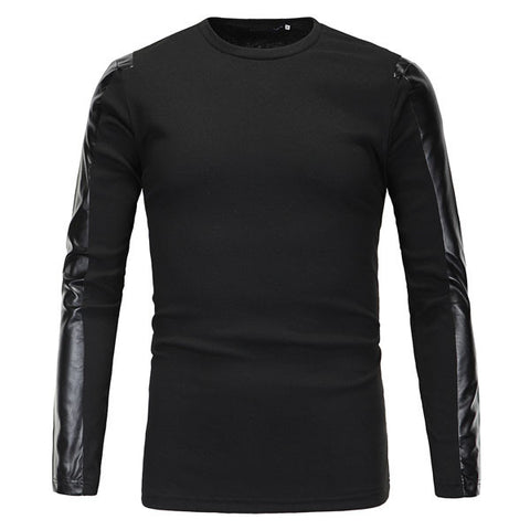 Black Leather Sleeve Men's Long Sleeve T-Shirt