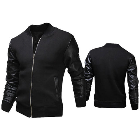 Leather Sleeve Varsity Jacket Comes with Black and Gray