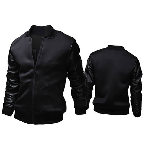 Leather Sleeve Slim Fit Zip Varsity Jacket