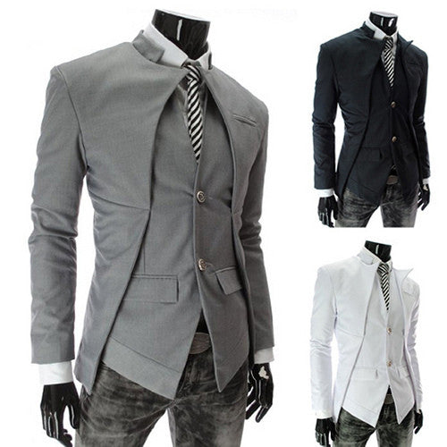 Slim Fit Peak Design Two Button Blazer