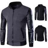 Leather Sleeve Men's Fashion Bomber Jacket