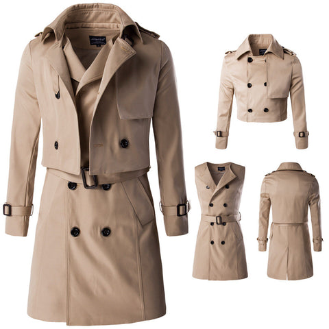 Two Piece Sets Designer Men's Fashion Trench Coat