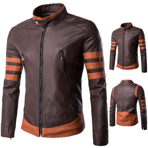 Slim Fit Zip Up Leather Jacket with Stripe Sleeve design