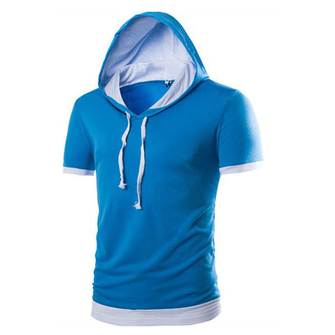 Slim Fit Two Colors Tee With Hood