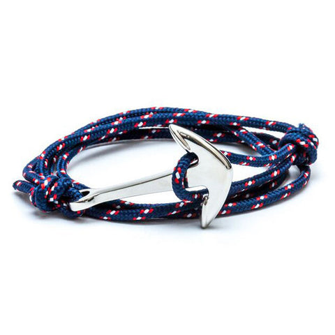 Silver Nautical Anchor With Navy Cord Wrap Bracelet