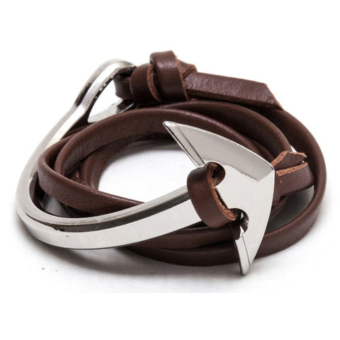 Half-Cuff Silver Nautical Anchor With Brown Leather Wrap Bracelet