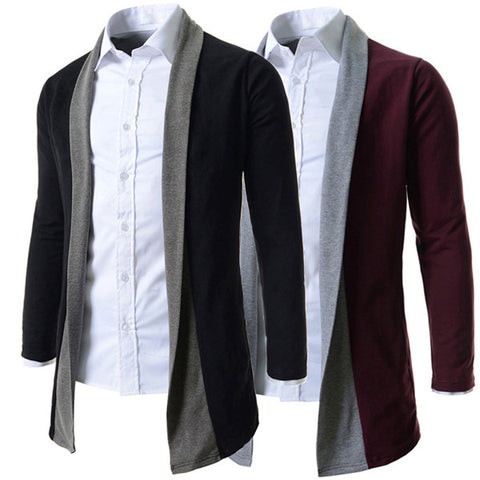 Men's Fashion Color Contrast Design Long Knit Cardigan
