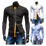 New Button Design Trim Style Men's Slim Dress Shirt