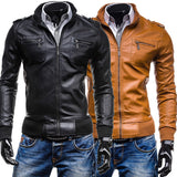 Multi-Zip Design Slim Fit Faux Leather Jacket