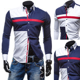 Color Contrast Slim Fit New Style Men's Fashion Dress Shirt