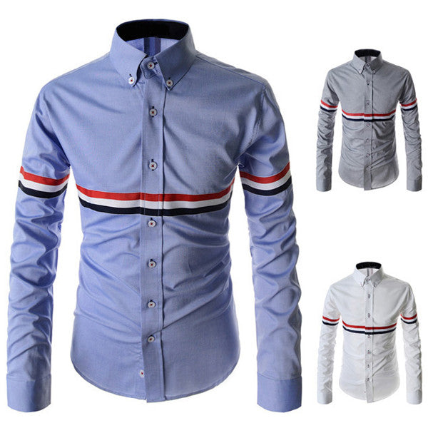 French Mens Style Slim Fit Long Sleeve Shirt