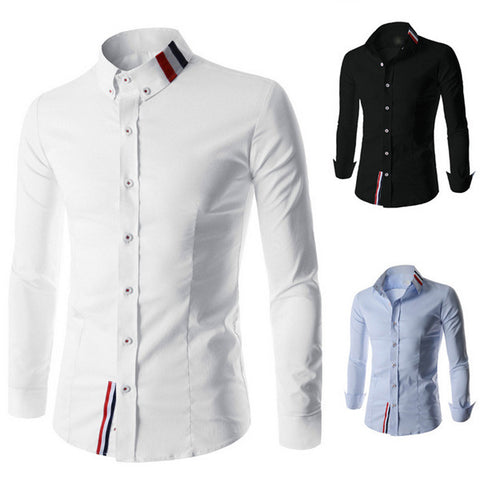 New French Men's Fashion Design Slim Fit Dress Shirt
