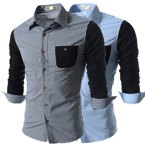 Designer Men's Checkered Color Contrast Men's Dress Shirt