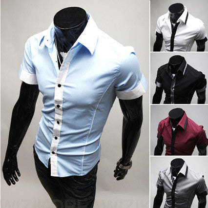 Contrast Cuff and Placket Short Sleeve Button Down Shirt