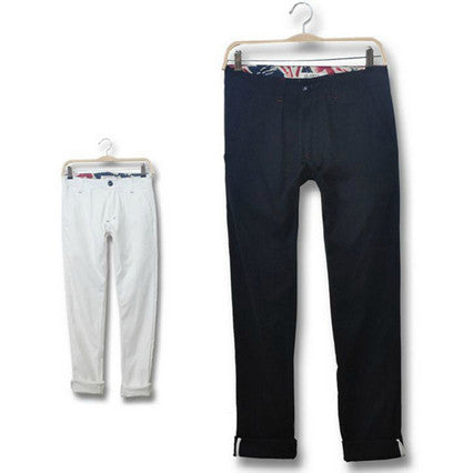 Union Jack Interior Solid Color Casual Pants