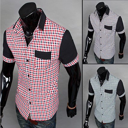 Color Contrast Checkerboard Short Sleeve Button Down