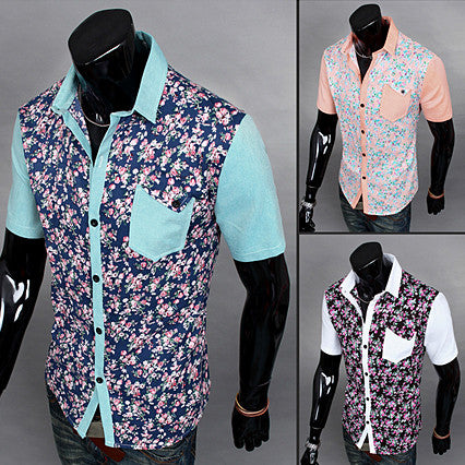 Color Contrasted Floral Print Button Down