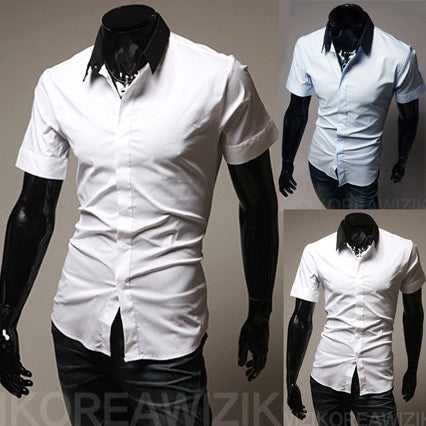 Short Sleeve Shirt with Color Contrasted Collar