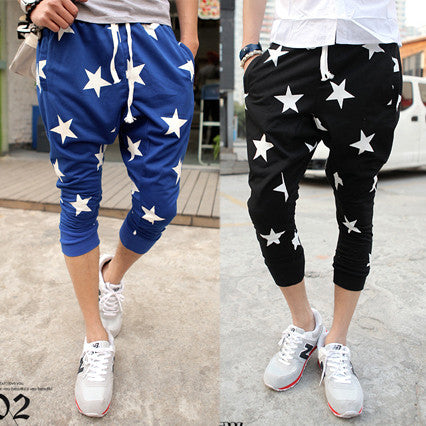 Star Print Men Street Style Cropped Harem Jogger Shorts