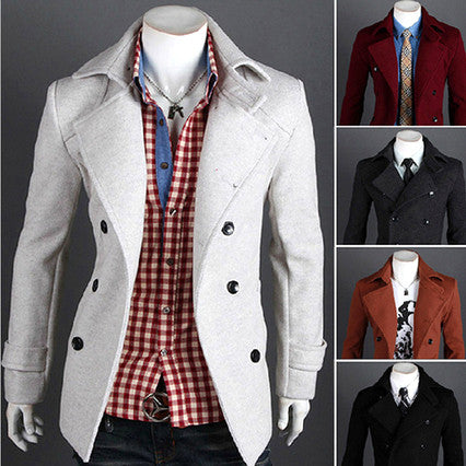Double Breasted New Style Slim Fit Wool Coat