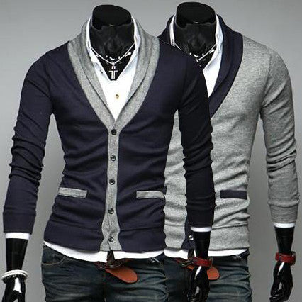 Navy Blue and Gray Color Contrast Mens Cardigan