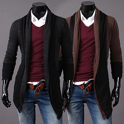 Two Toned Men Fashion Slim Open Cardigan