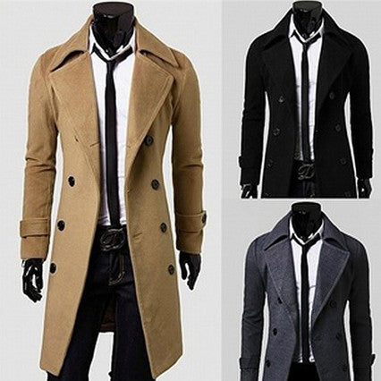 Slim Fit 3/4 Length Wool Coat