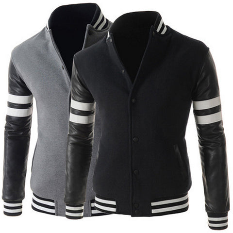 New Style Sporty Varsity Jacket with Leather Sleeve