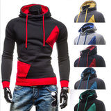 Color Block with Zip Slim Fit Pullover Men's Hoodie
