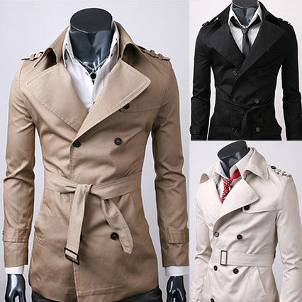 Double Breasted Men Fashion Trench Coat