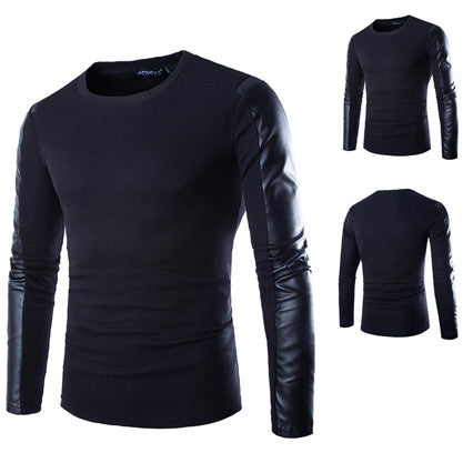 Men Crew Neck Long Sleeve Tee with Faux Leather Detailed