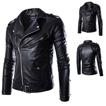 Faux Leather Men Biker Jacket