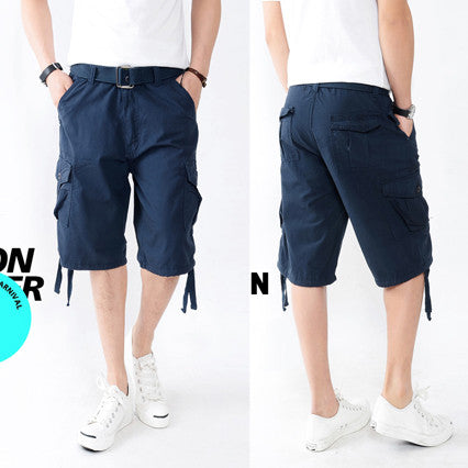 Relaxed Fit Solid Color Cargo Shorts