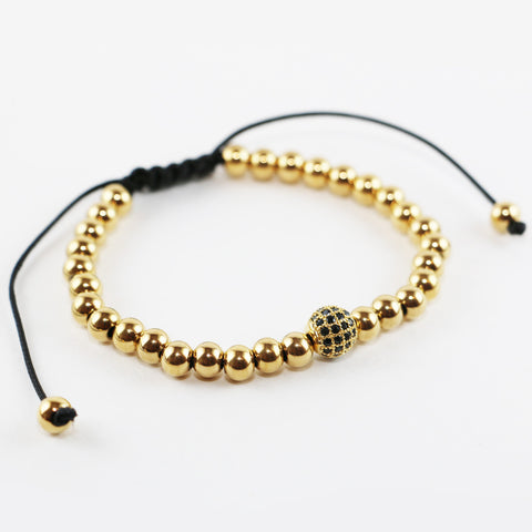 18kt Three Gold Plated Zircon Disco Balls Macrame Bracelet