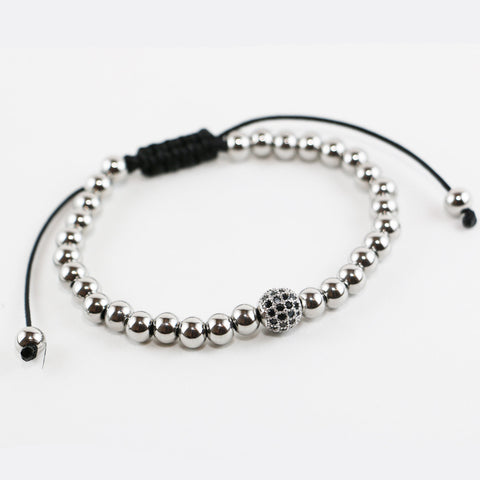 18kt Single White Gold Plated Zircon Disco Ball Onyx Beaded Bracelet