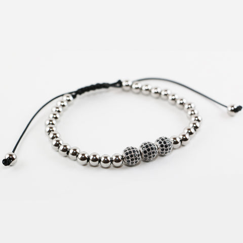 18kt White Gold Plated Zircon Disco Ball Onyx Beaded Bracelet