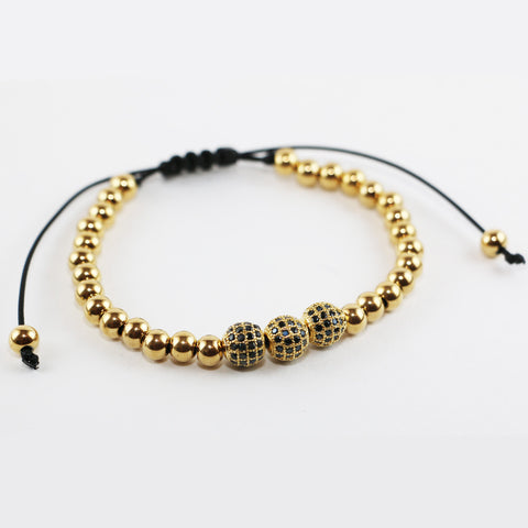 18kt Gold Plated Zircon Disco Ball Macrame Bracelet