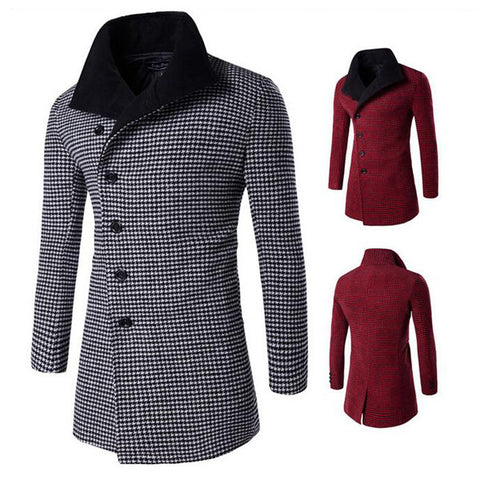 Houndstooth Side Buttons Design Wool Coat