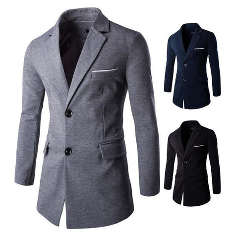Slim Fit Two Buttons Long Blazer Coat