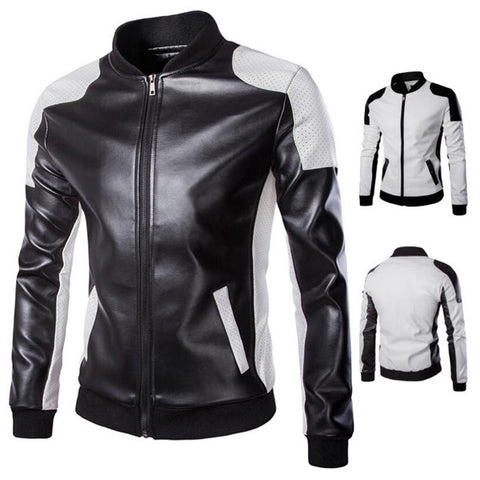 Black and White Faux Leather Jacket