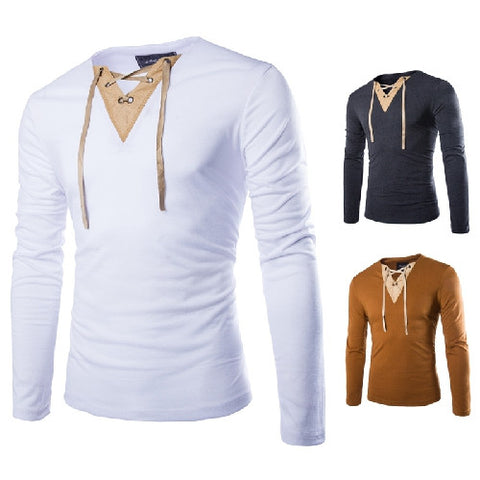 Slim Fit Men's T-Shirt with Collar String Design
